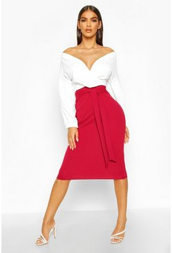 Womens Berry Contrast Off Shoulder Wrap Midi Dress