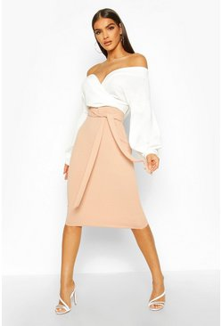 Stone Contrast Off Shoulder Wrap Midi Dress