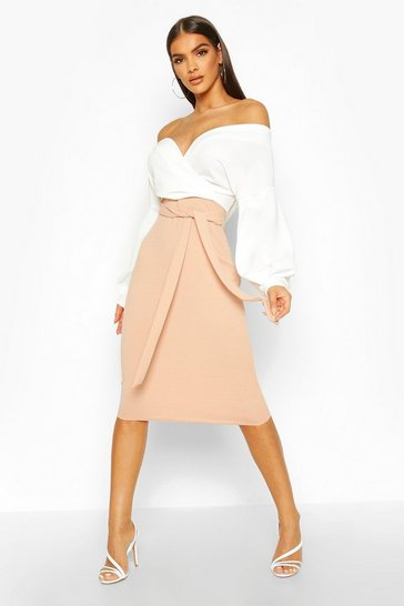 Womens Stone Contrast Off Shoulder Wrap Midi Dress