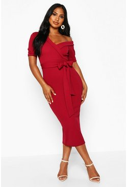 Womens Berry One Shoulder Puff Sleeve Wrap Midi Dress