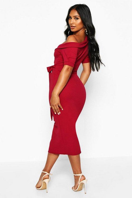 One Shoulder Puff Sleeve Wrap Midi Dress