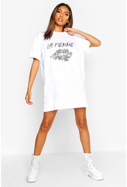Womens White La Femme Snake Lips T-Shirt Dress
