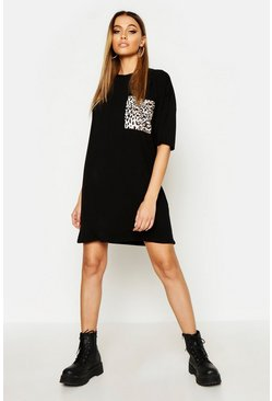 Womens Black Leopard Pocket T-Shirt Dress