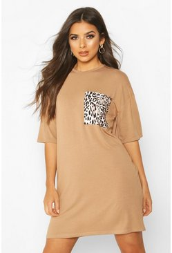 Womens Camel Leopard Pocket T-Shirt Dress