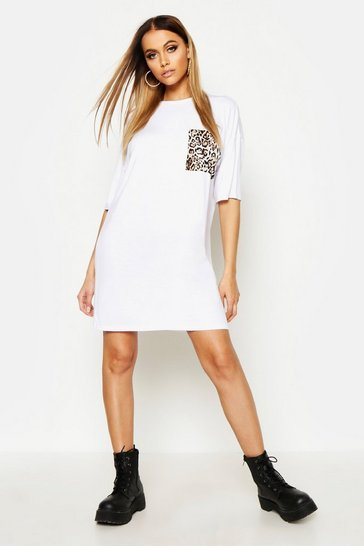 Womens White Leopard Pocket T-Shirt Dress
