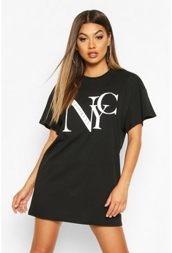T-Shirt-Kleid mit NYC Brooklyn Print, Schwarz, Damen
