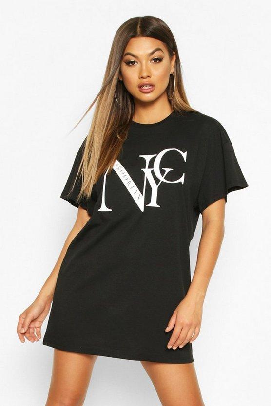 NYC Brooklyn Printed T-Shirt Dress