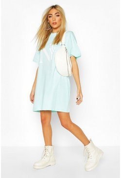 T-Shirt-Kleid mit NYC Brooklyn Print, Turquoise