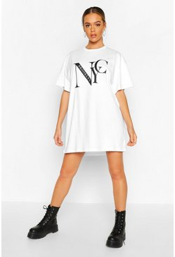 "Vestido estilo camiseta con estampado ""NYC Brooklyn"", White"
