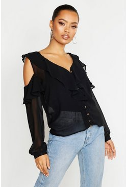 Black Chiffon Cold Shoulder Ruffle Top