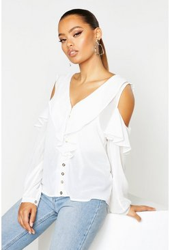 Womens White Chiffon Cold Shoulder Ruffle Top