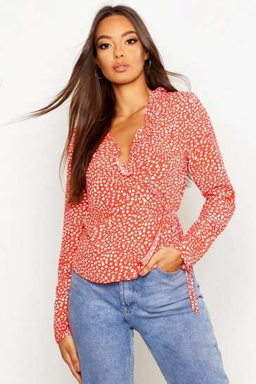 Womens Red Woven Printed Ruffle Wrap Blouse