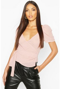 Womens Blush Dobby Chiffon Wrap Blouse