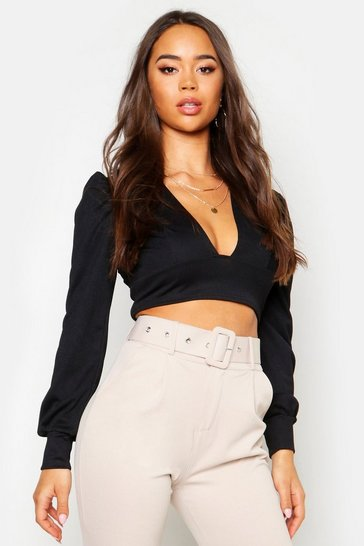 Womens Black Crepe Plunge Neck Oversized Sleeve Crop Top