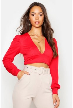 Womens Red Crepe Plunge Neck Oversized Sleeve Crop Top
