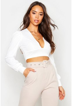 Crepe Plunge Neck Oversized Sleeve Crop Top, White, DAMEN