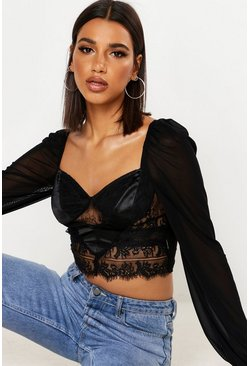 Womens Black Satin Lace Mesh Crop Top
