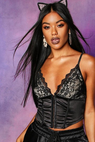 Womens Black Lace Hook & Eye Bralet