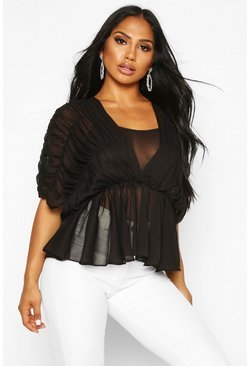 Ruched Angel Sleeve Blouse, Black, Donna