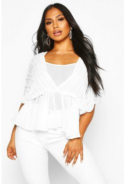 Womens White Ruched Angel Sleeve Blouse