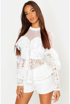 Lace Peplum Mesh Long Sleeve Blouse, White, Donna