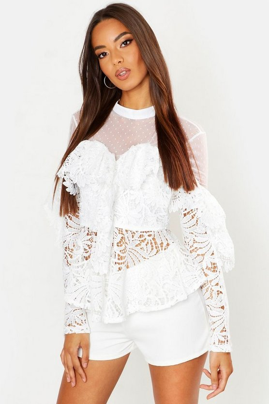 Lace Peplum Mesh Long Sleeve Blouse by Boohoo