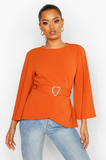 Womens Terracotta Flared Sleeve Belted Blouse