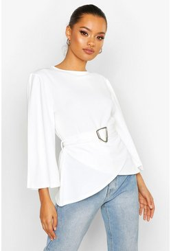 Womens White Flared Sleeve Belted Blouse