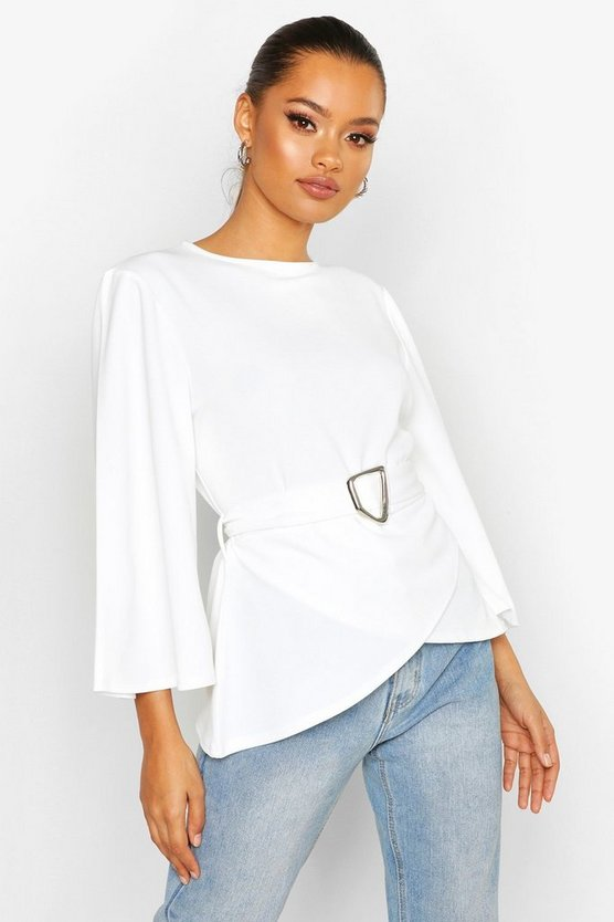 Flared Sleeve Belted Blouse by Boohoo