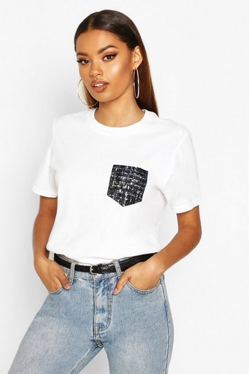 Womens White Woven Mock Pocket T-Shirt