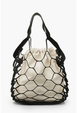 Womens Black PU Cage Insert Day Bag