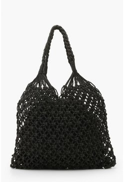 Womens Black Macrame Shopper Bag