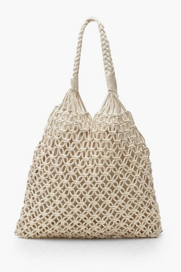 Womens Cream Macrame Shopper Bag