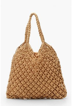 Womens Tan Macrame Shopper Bag