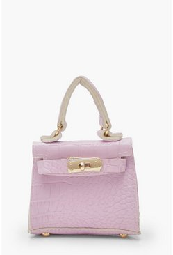 Womens Lilac Micro Mini Croc Grab Bag