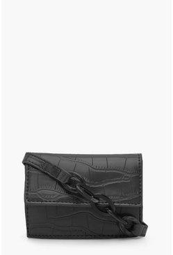 Womens Black Croc Micro Mini Cross Body Bag