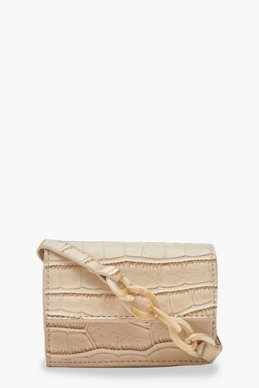 Womens Nude Croc Micro Mini Cross Body Bag