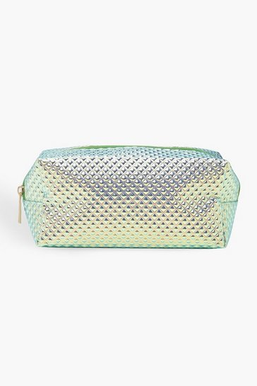 Womens Blue Holographic Textured Make Up Bag