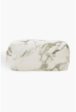Womens White Marble Make Up Bag