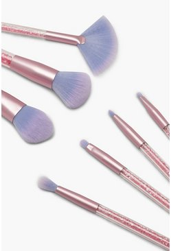 Womens Pink 7 Piece Pastel Glitter Brush Set With Pouch
