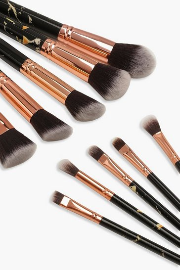 Womens 10 Piece Gold And Black Marble Brush Set
