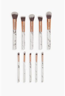 10 Piece Rose Gold Marble Make Up Brush Set, White, FEMMES