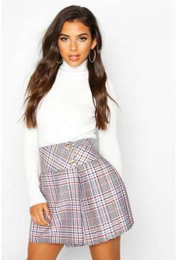 Tan Tonal Check Pleated Mini Skirt