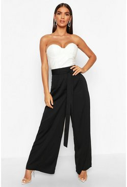 Black Tie Waist Luxe Wide Leg Trousers