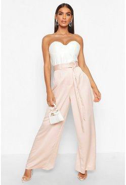 Tie Waist Luxe Wide Leg Trousers, Rose