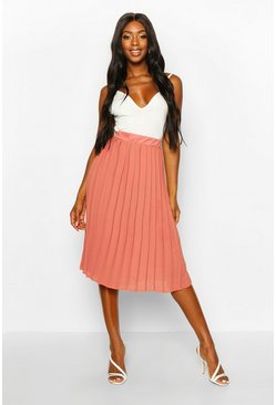 Womens Rose Chiffon Pleated Midi Skirt