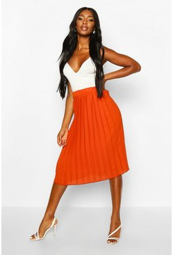 Chiffon Pleated Midi Skirt, Terracotta