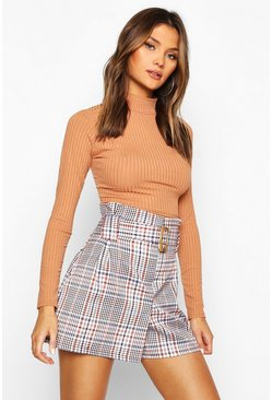 Womens Tan Tonal Check Tailored Shorts