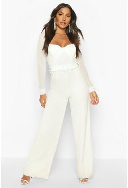 Underwired Mesh Sleeve Wide Leg Jumpsuit, Ivory, Donna