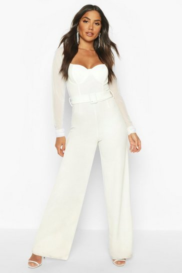 Womens Ivory Underwired Mesh Sleeve Wide Leg Jumpsuit